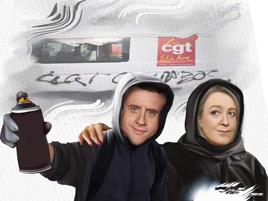 dessin presse humour Marine Le Pen Emmanuel Macron image drôle syndicat CGT casseurs