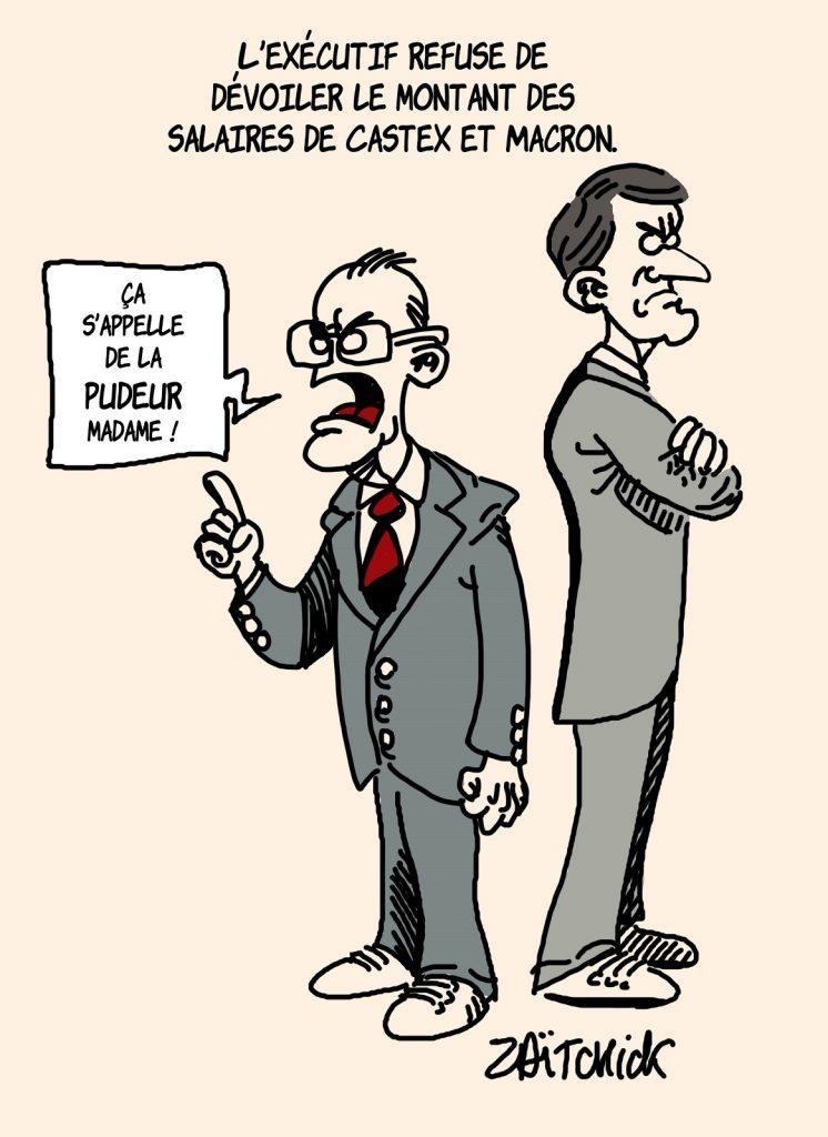 dessin presse humour salaire Emmanuel Macron image drôle pudeur Jean Castex