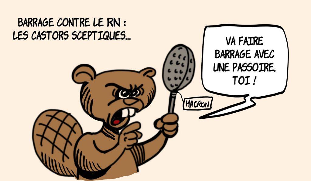 dessin presse humour Emmanuel Macron stratégie électorale image drôle barrage électoral Rassemblement National passoire