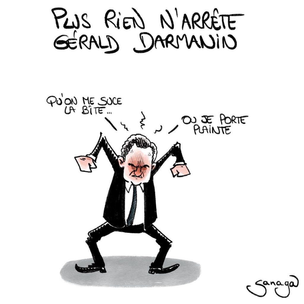 dessin presse humour Gérald Darmanin image drôle dépôt plainte Audrey Pulvar