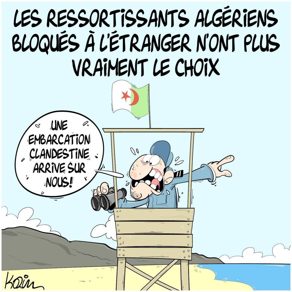 dessin presse humour coronavirus covid-19 image drôle Algérie retour ressortissants algériens