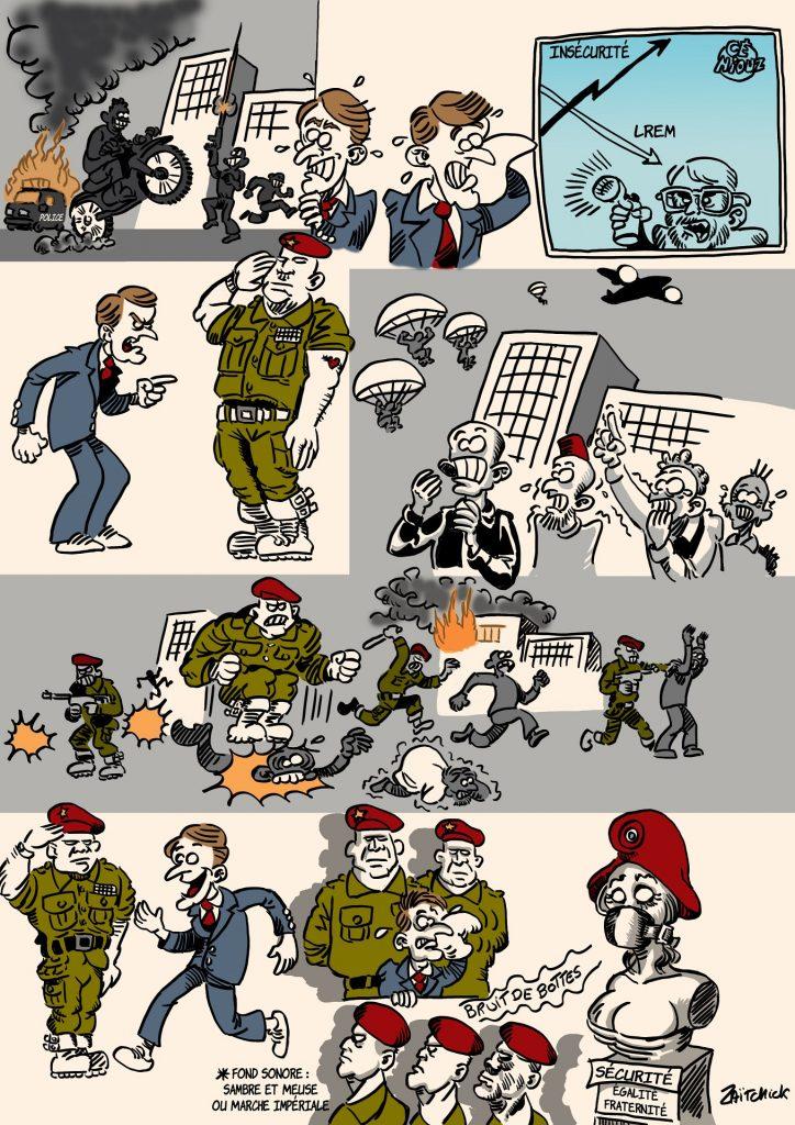 dessin presse humour tribune généraux Valeurs Actuelles image drôle armée militaires sécurité liberté
