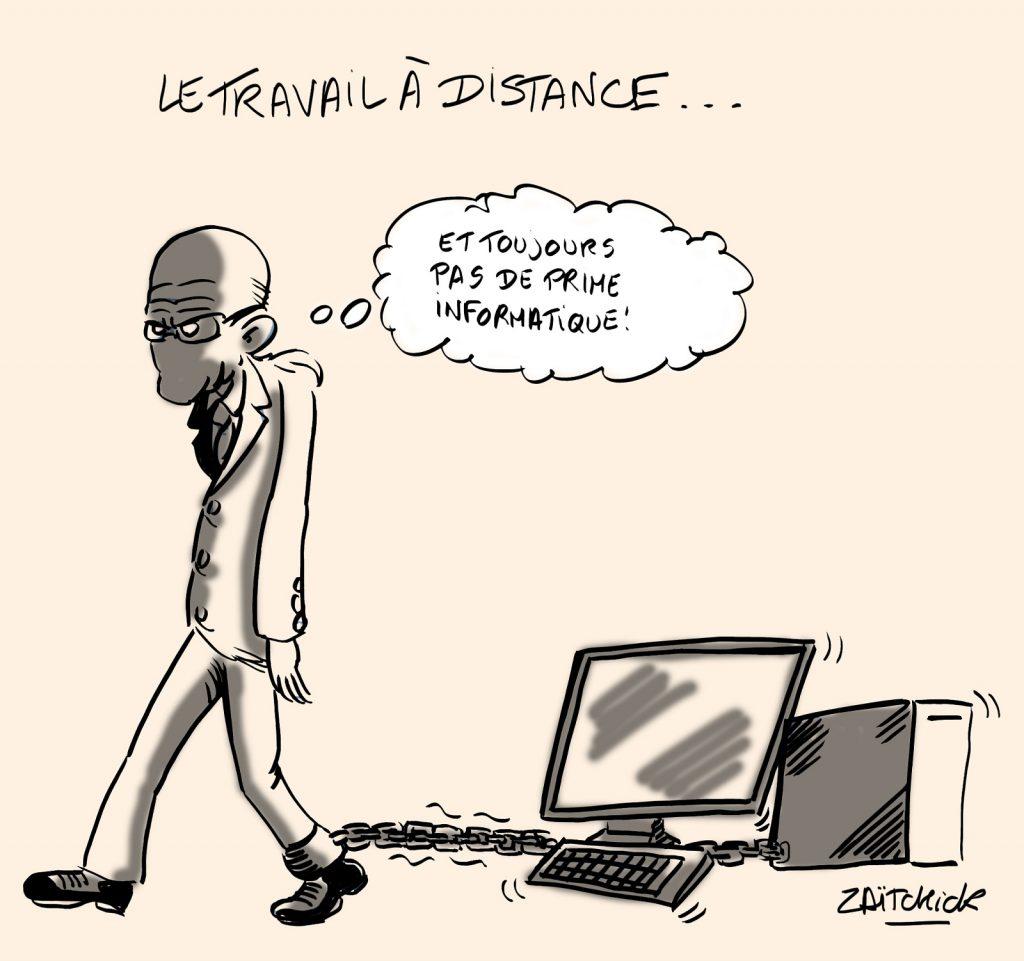 dessin presse humour coronavirus covid-19 image drôle télétravail prime informatique