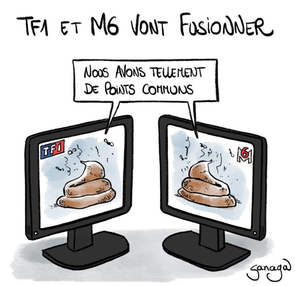 dessin presse humour télévision M6 TF1 image drôle télé poubelle fusion M6-TF1