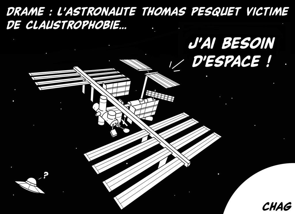 dessin humoristique Thomas Pesquet claustrophobie image drôle mission spatiale ISS