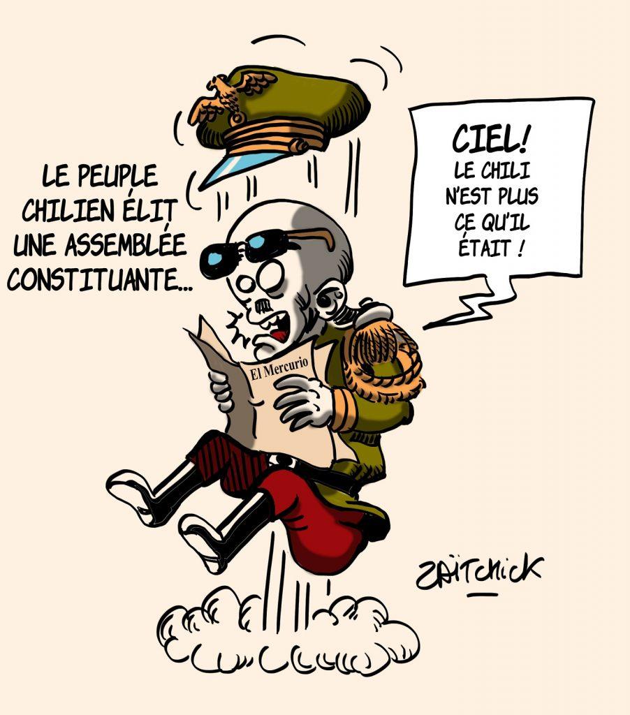 dessin presse humour Chili élections assemblée constituante image drôle démocratie général