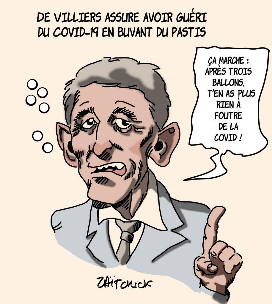 dessin presse humour Philippe de Villiers image drôle pastis guérison covid