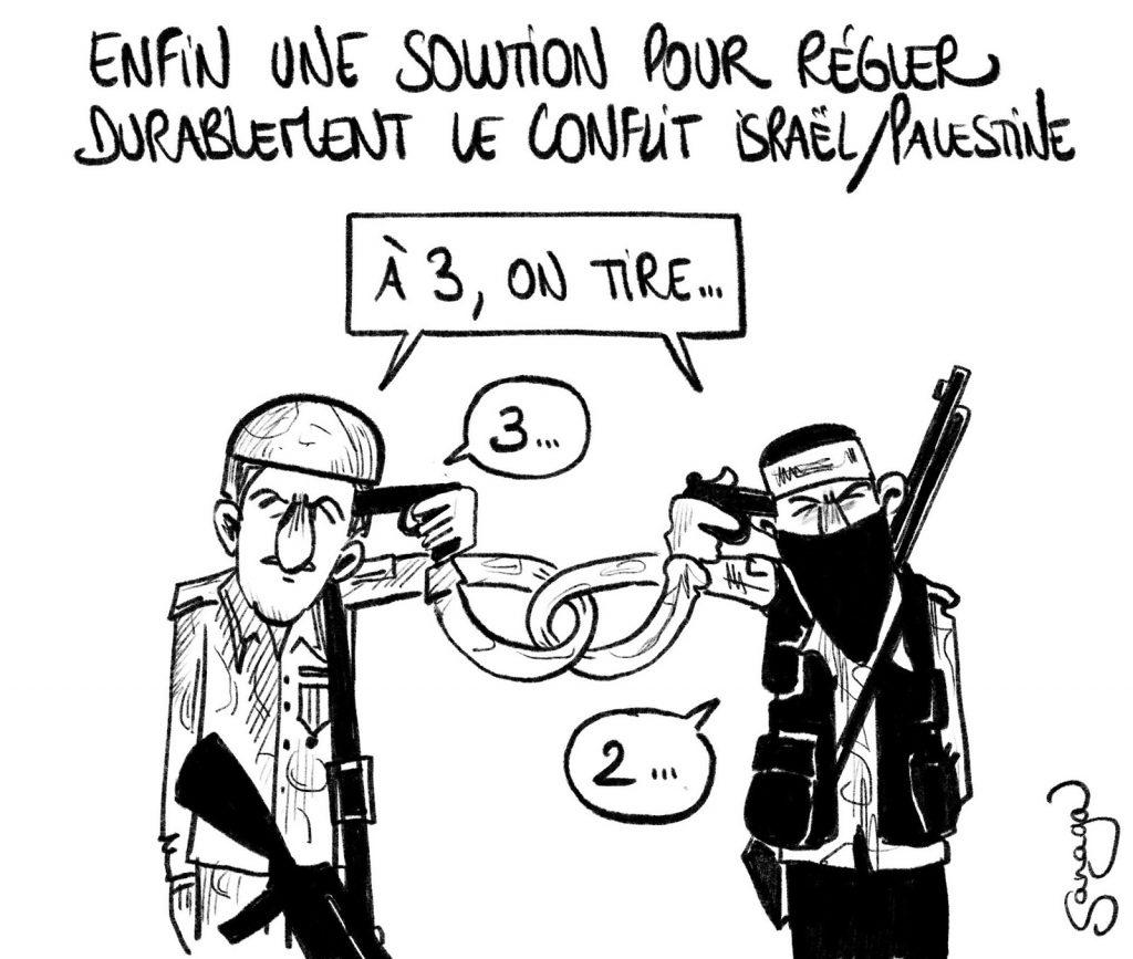 dessin presse humour conflit israélo-palestinien image drôle Israël Palestine résolution conflit suicide