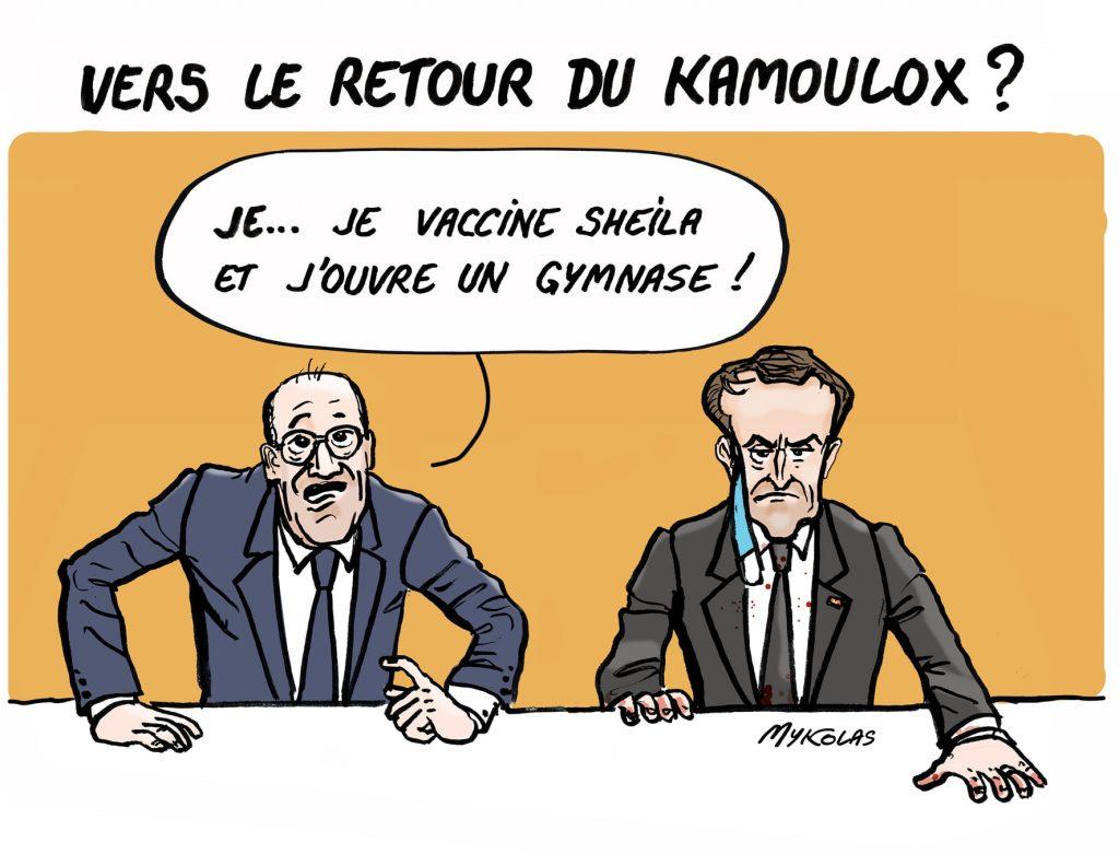 image drôle Kamoulox coronavirus dessins humour Emmanuel Macron vaccination Jean Castex