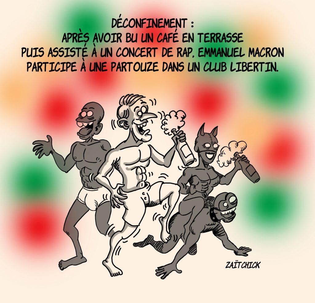 dessin presse humour coronavirus déconfinement image drôle Emmanuel Macron club libertin