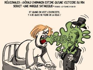 dessins humour Gérald Darmanin image drôle marque satanique
