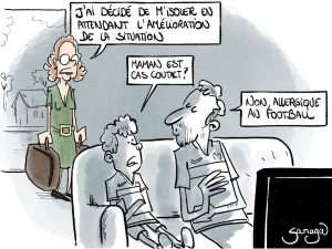 dessin presse humour euro football image drôle isolement cas contact
