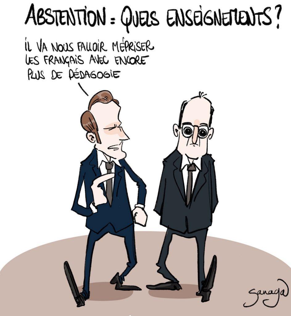 dessin presse humour élections régionales enseignements image drôle Emmanuel Macron mépris