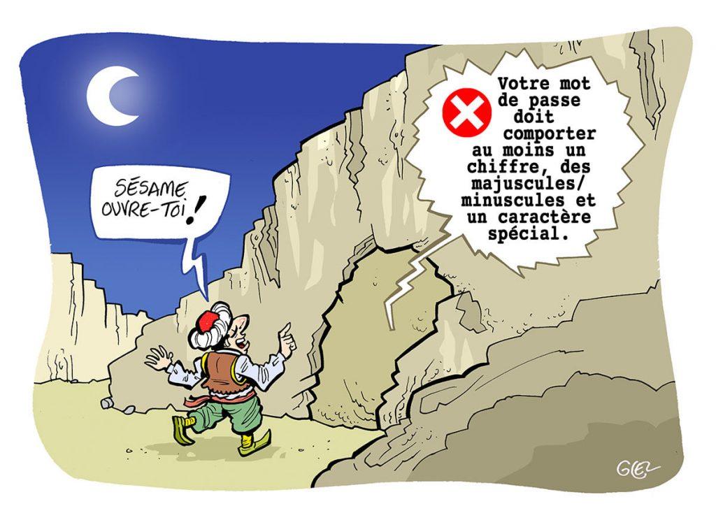 dessin presse humour caverne Ali Baba image drôle mot de passe informatique