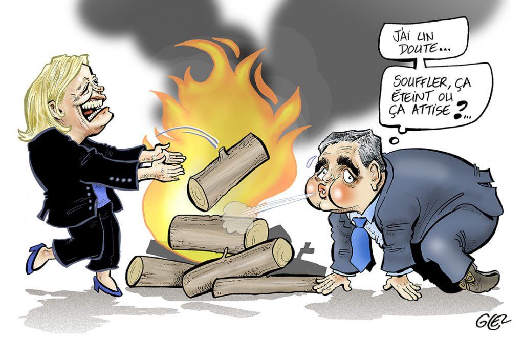 dessin presse humour Marine Le Pen élections image drôle Xavier Bertrand feu