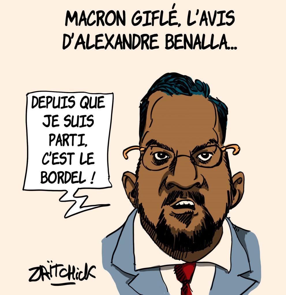 dessins humour gifle Emmanuel Macron Tain-l'Hermitage image drôle avis Alexandre Benalla