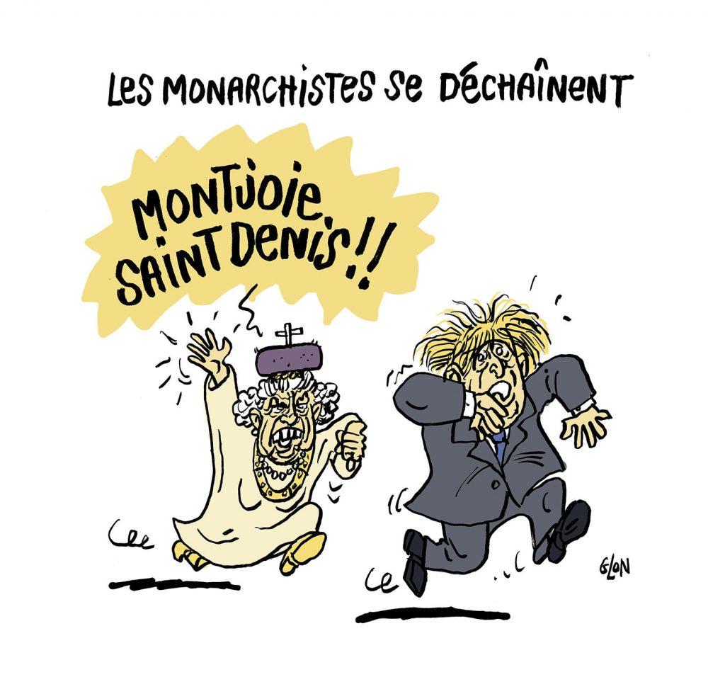 dessin presse humour Élisabeth II Boris Johnson image drôle baffe Macron monarchistes
