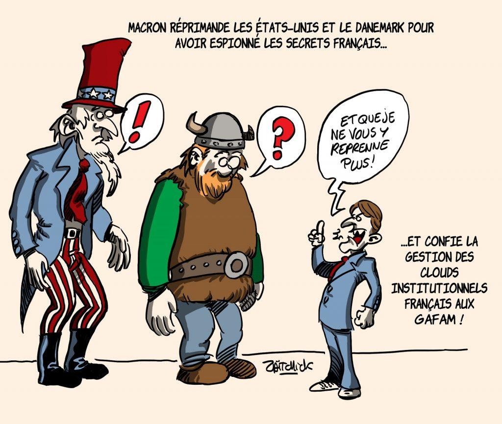 dessins humour Emmanuel Macron réprimande image drôle Danemark espionnage NSA États-Unis
