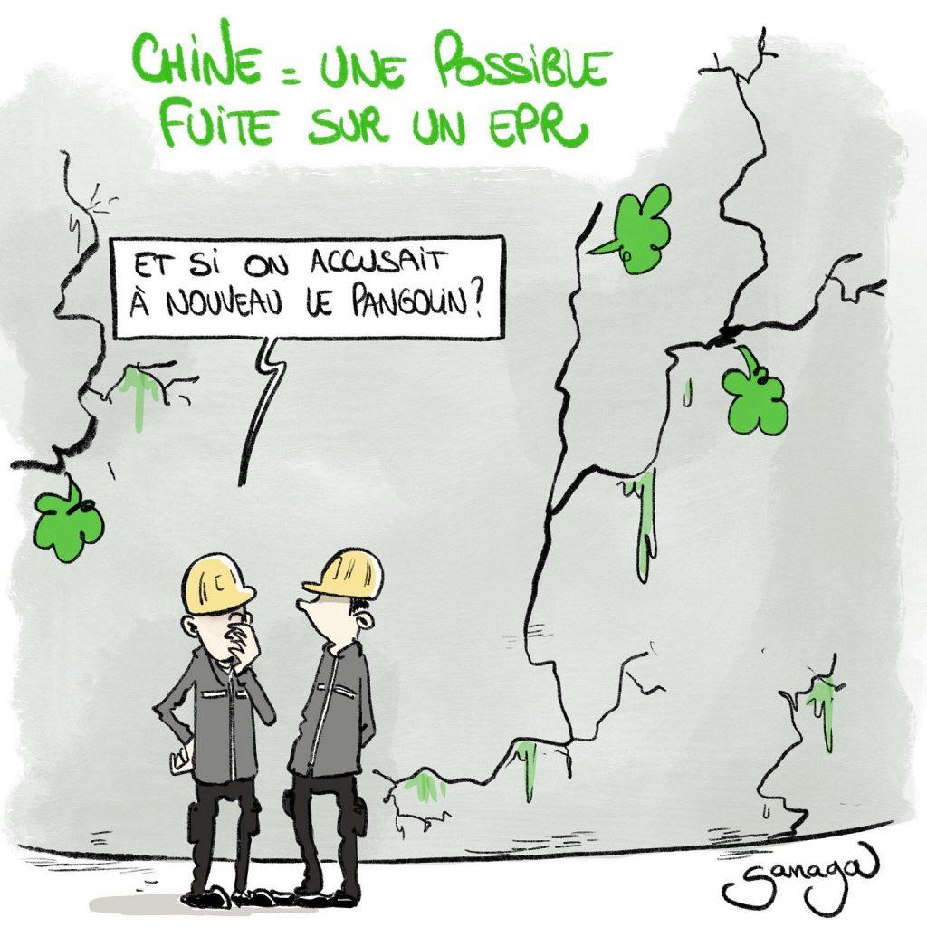 dessin presse humour fuite EPR Chine image drôle pangolin