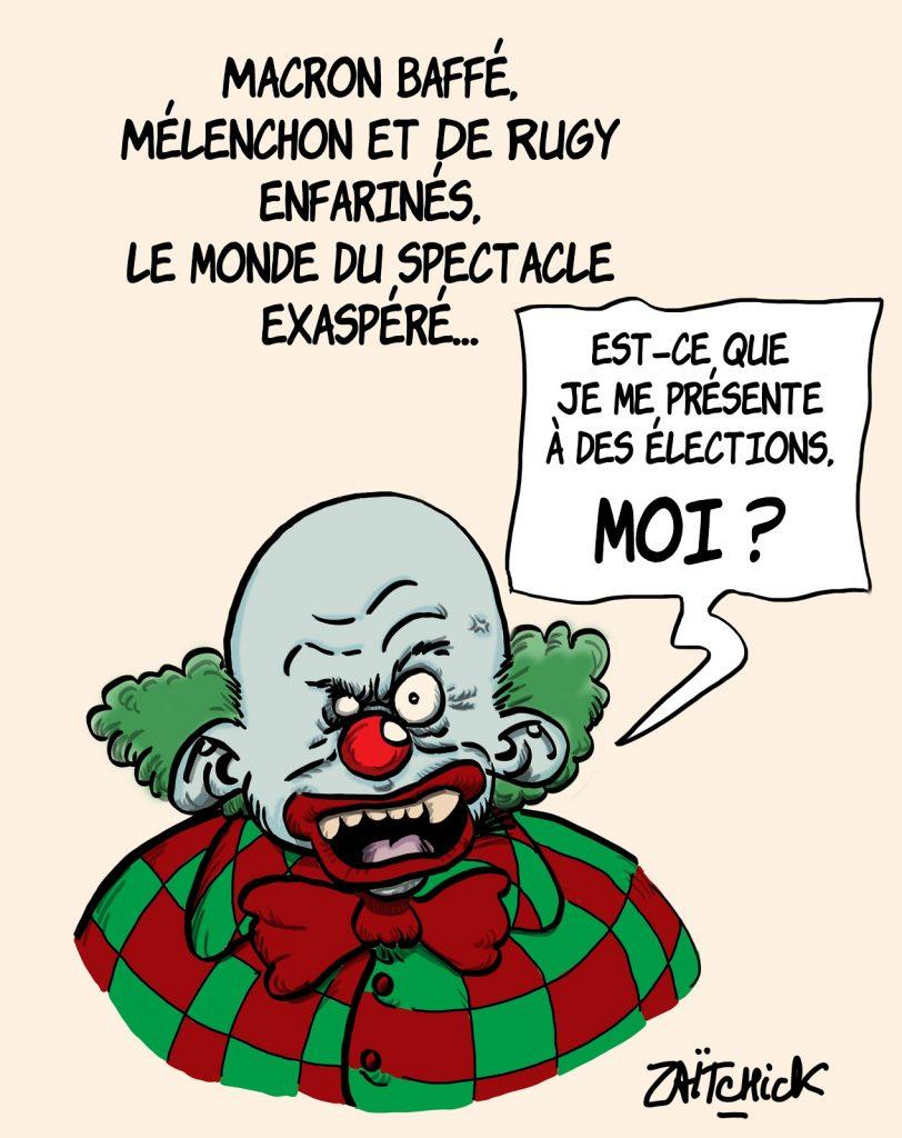 dessins humour baffe Emmanuel Macron image drôle Jean-Luc Mélenchon François de Rugy enfarinage clown