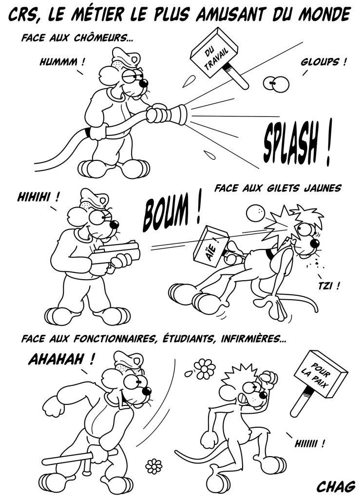 dessin humoristique métier CRS image drôle répression amusement