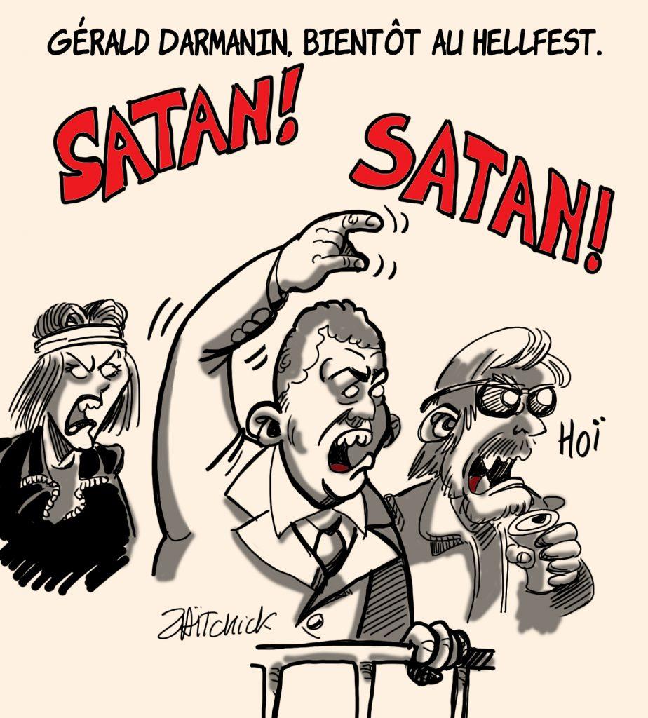 dessins humour Gérald Darmanin Hellfest image drôle marque satanique