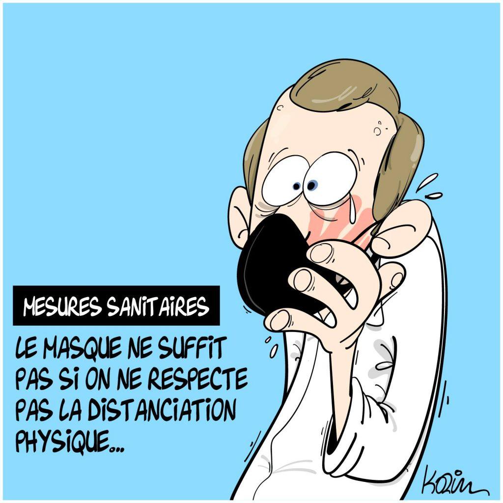dessin presse humour gifle Emmanuel Macron Tain-l'Hermitage image drôle masque distanciation physique
