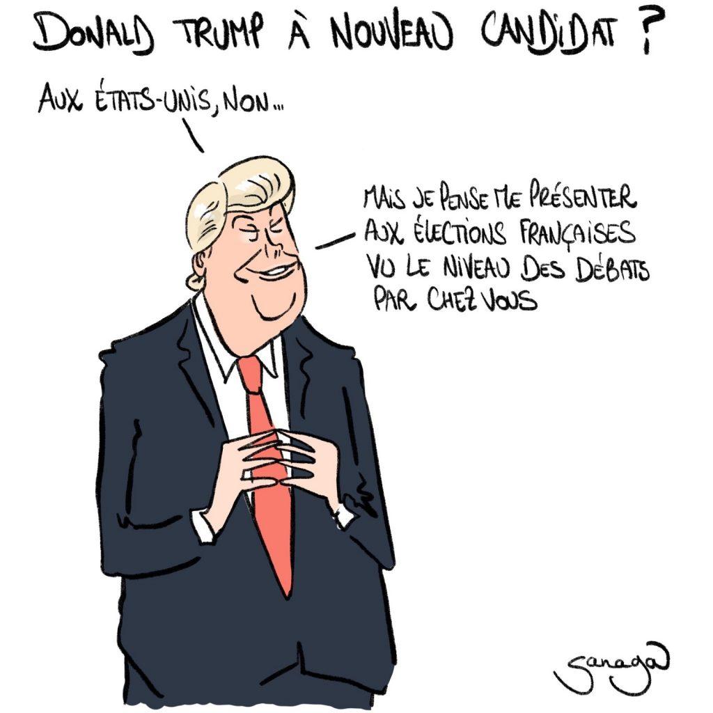 dessin presse humour candidature Donald Trump image drôle débat élection présidentielle française