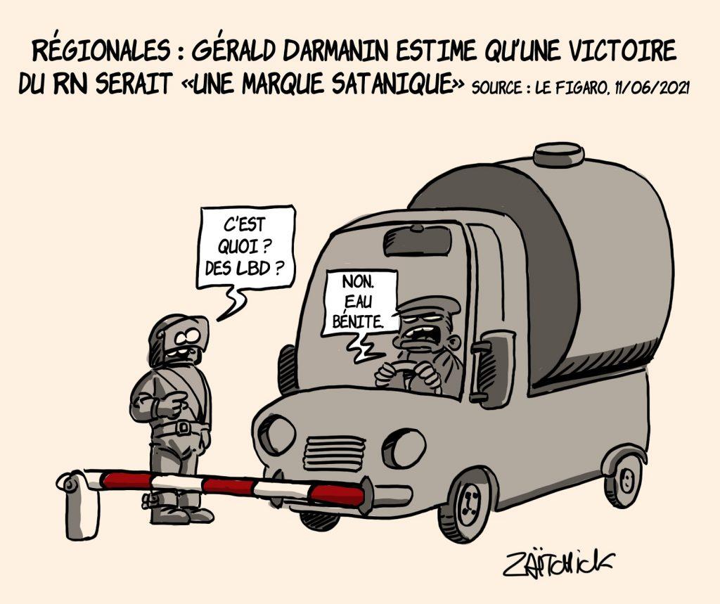 dessins humour Gérald Darmanin exorciste image drôle marque satanique eau bénite