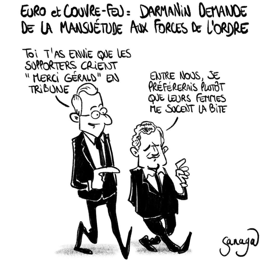 dessin presse humour Gérald Darmanin mansuétude image drôle Euro football couvre-feu