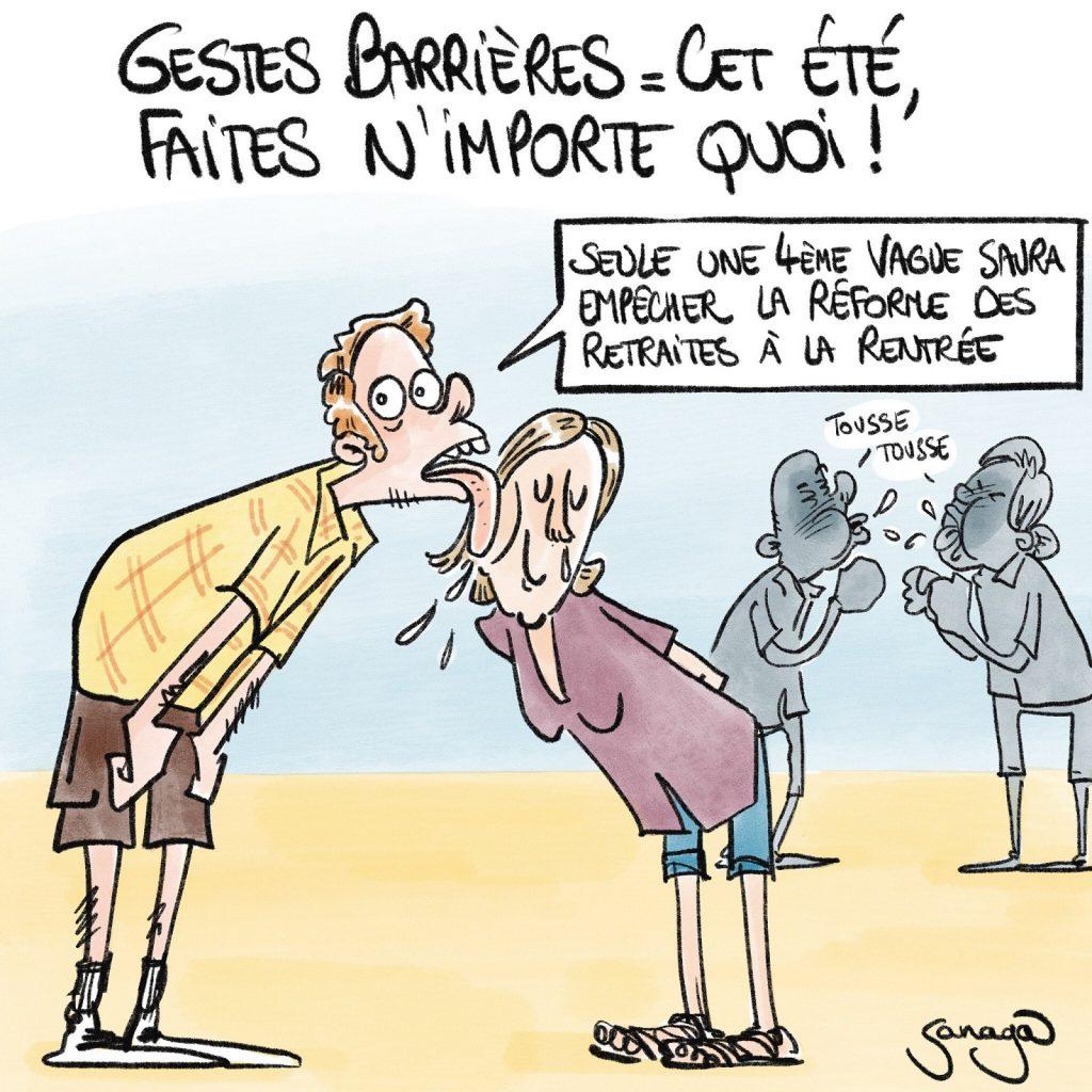 dessin presse humour coronavirus gestes barrières image drôle réforme des retraites