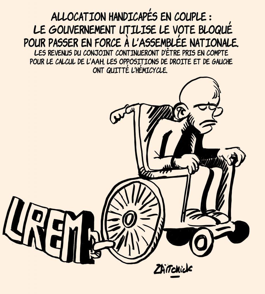 dessins humour déconjugalisation AAH image drôle allocation adulte handicapé