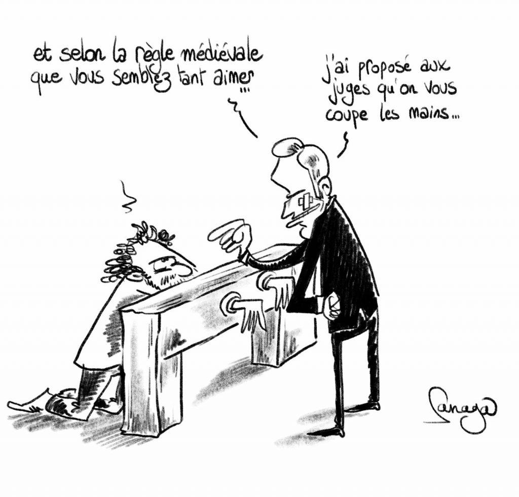 dessin presse humour gifle Emmanuel Macron Tain-l'Hermitage image drôle jugement Damien Tarel