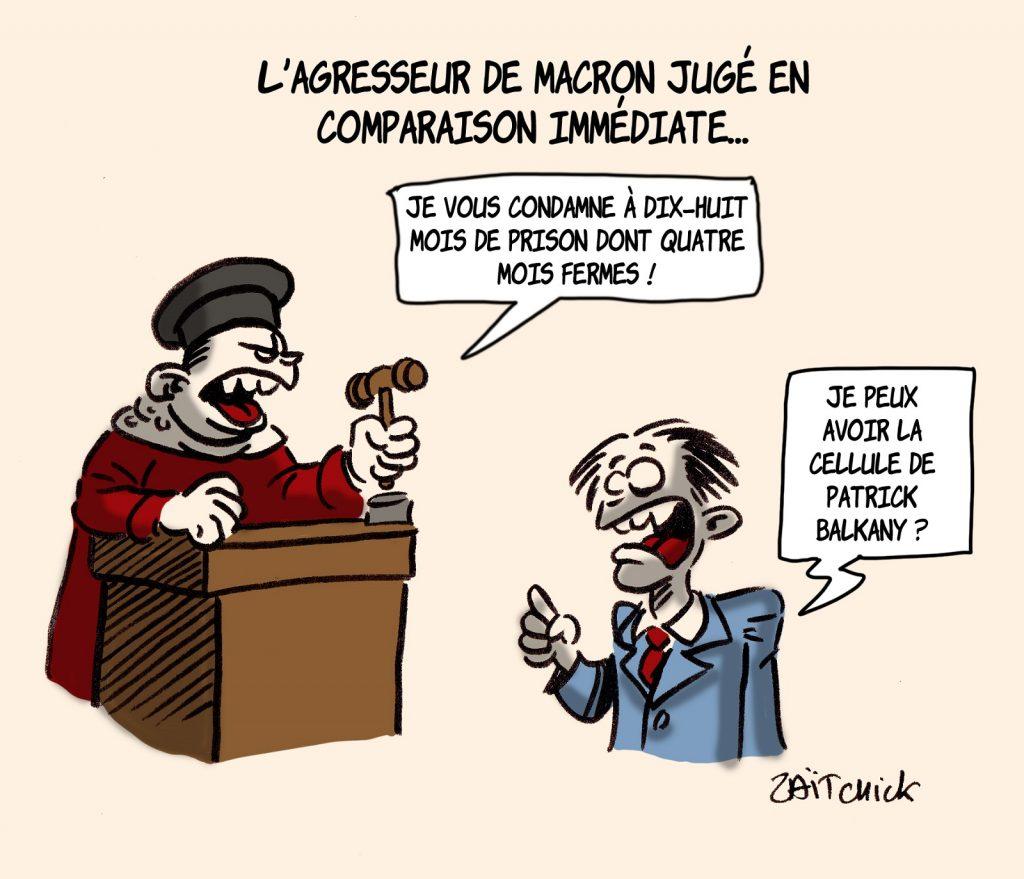 dessins humour gifle Emmanuel Macron Tain-l'Hermitage image drôle jugement Damien Tarel