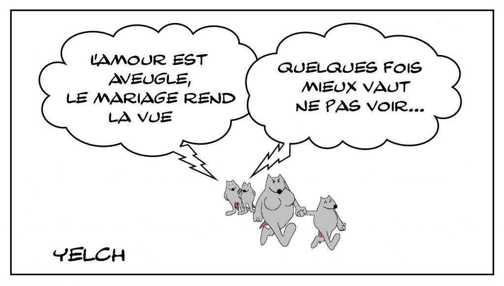 dessins humour amour aveugle image drôle mariage vue