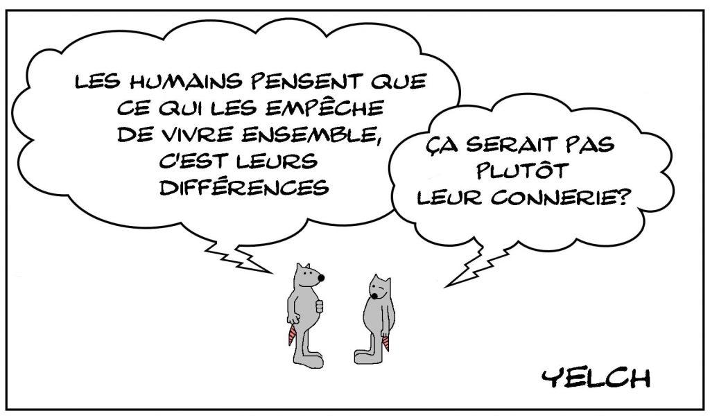 dessins humour vivre ensemble image drôle différence connerie