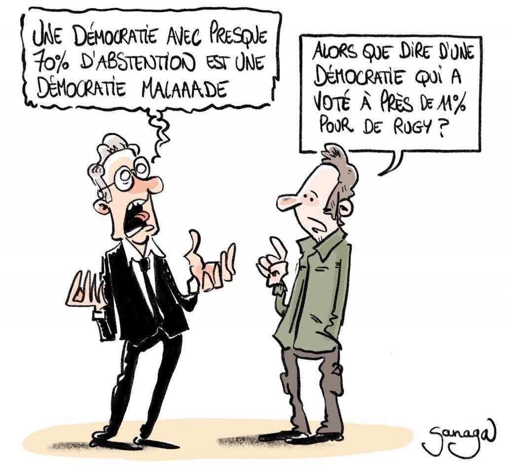 dessin presse humour élections régionales François de Rugy image drôle record abstention démocratie malade