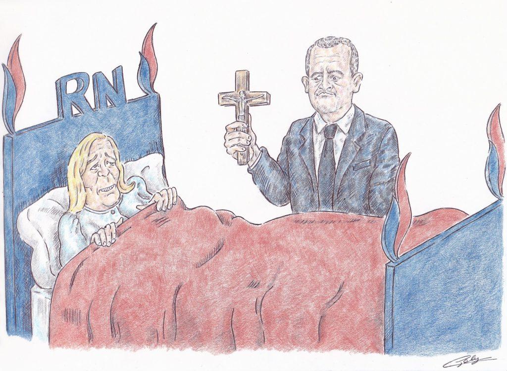 dessin presse humour Gérald Darmanin image drôle Marine Le Pen marque satanique