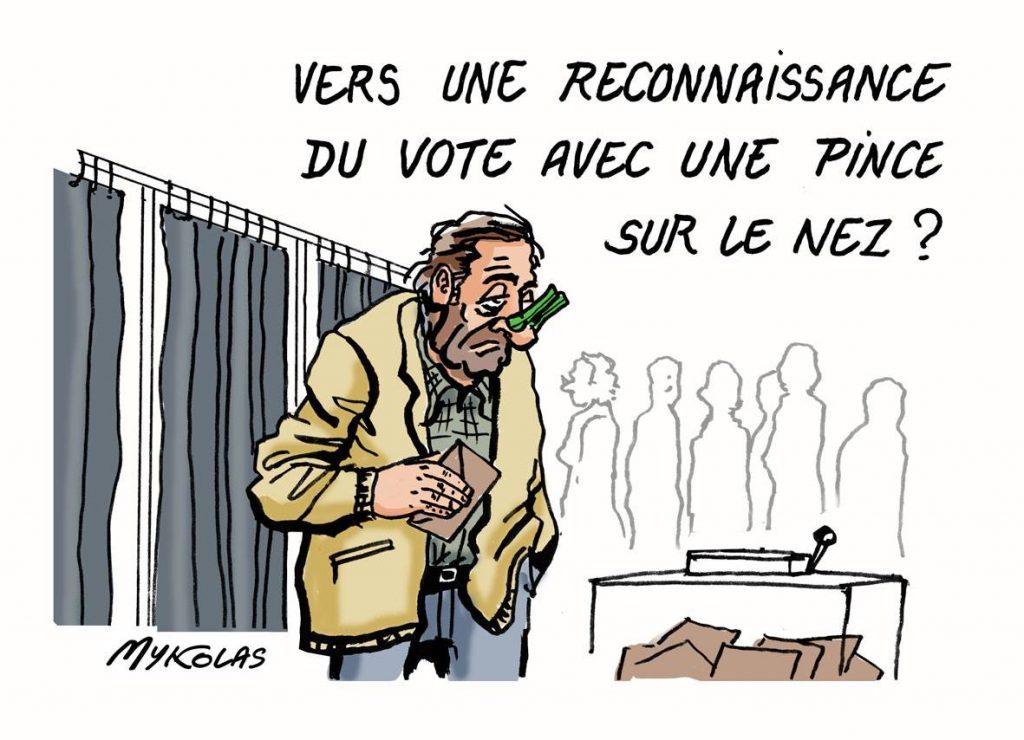 image drôle élections régionales dessins humour vote pince nez
