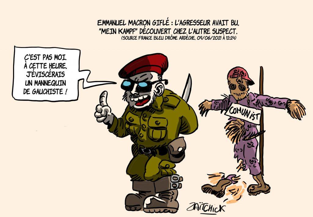 dessins humour gifle Emmanuel Macron Tain-l'Hermitage image drôle Papacito extrême-droite