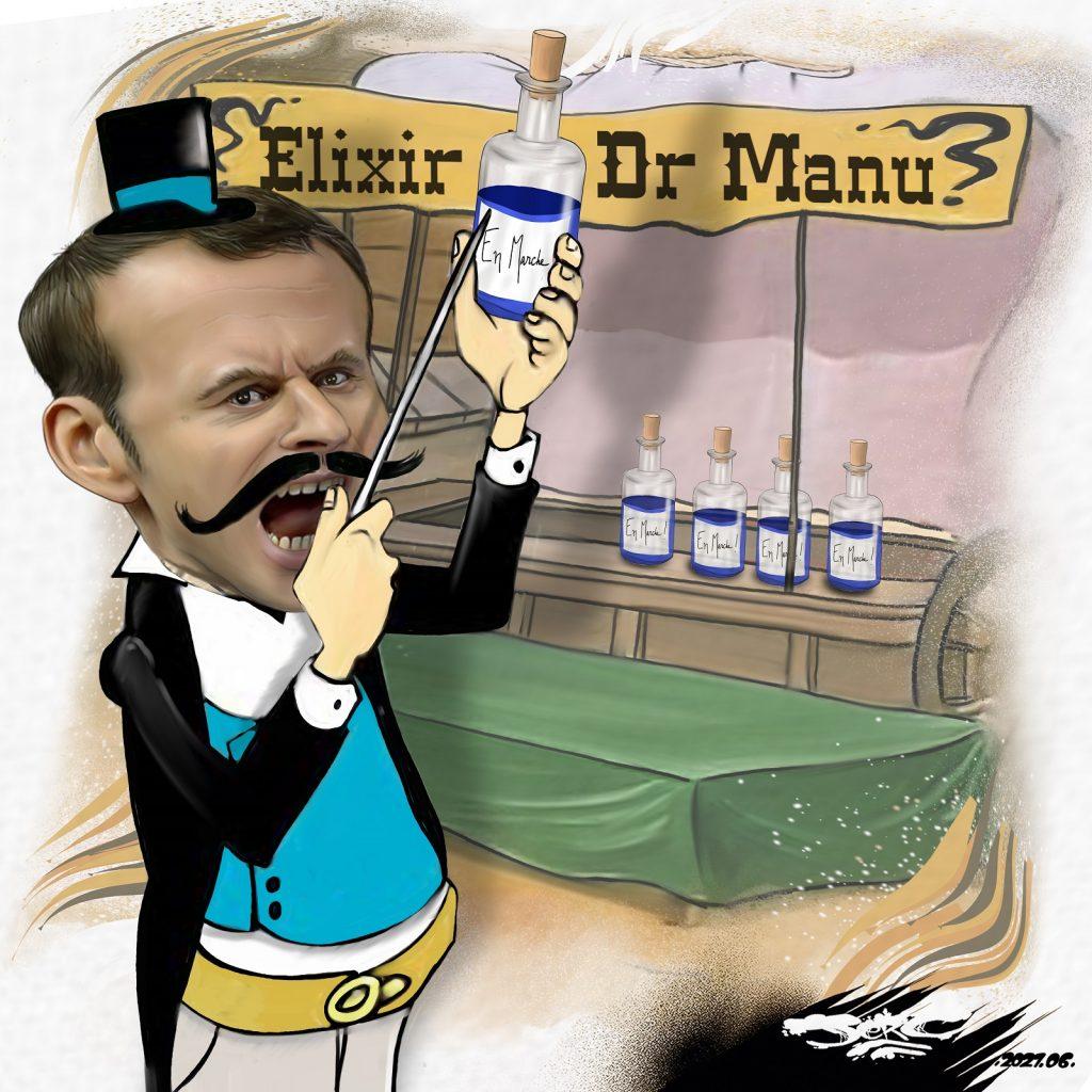 dessin presse humour gifle Emmanuel Macron image drôle Tour de France Tain-l'Hermitage