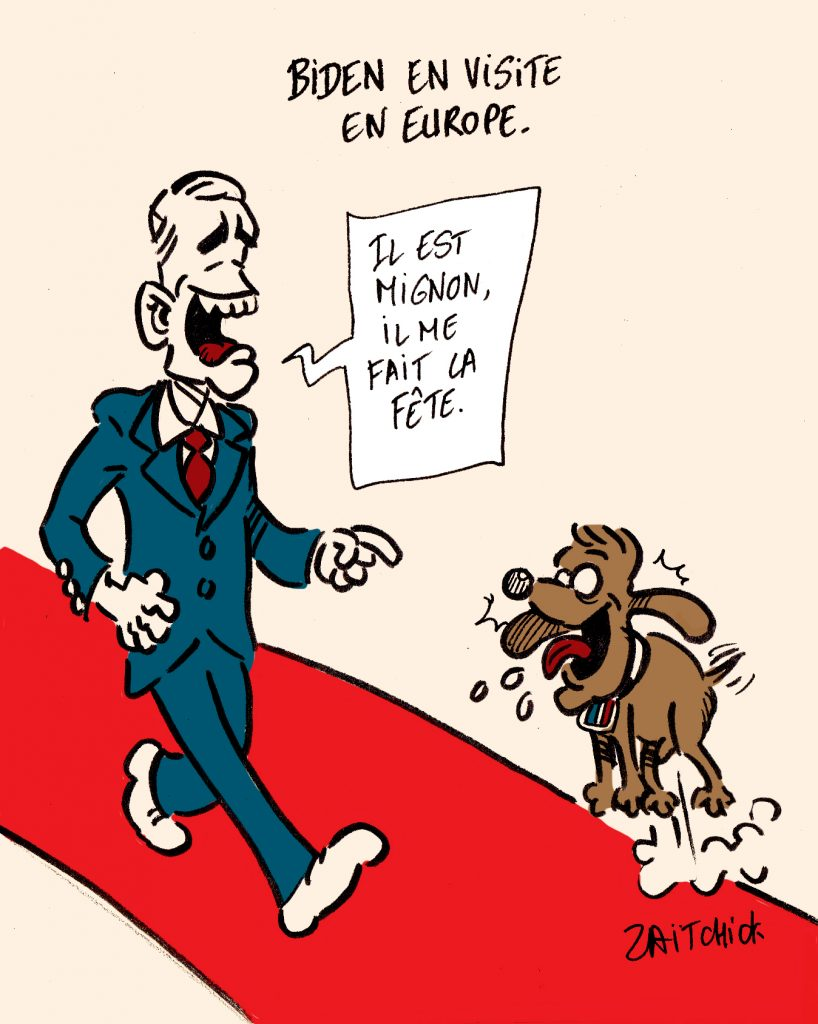 dessins humour Joe Biden visite europe image drôle Emmanuel Macron