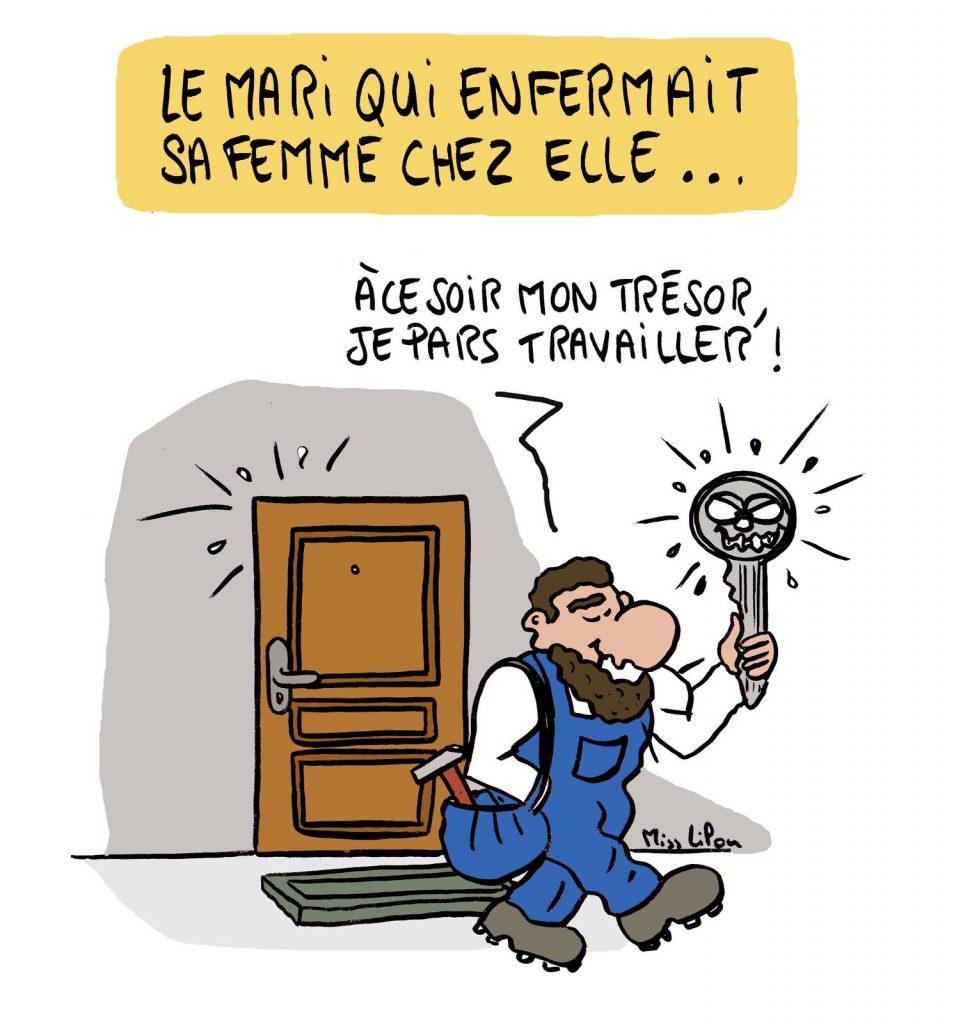 dessin presse humour violence conjugale image drôle séquestration maritale