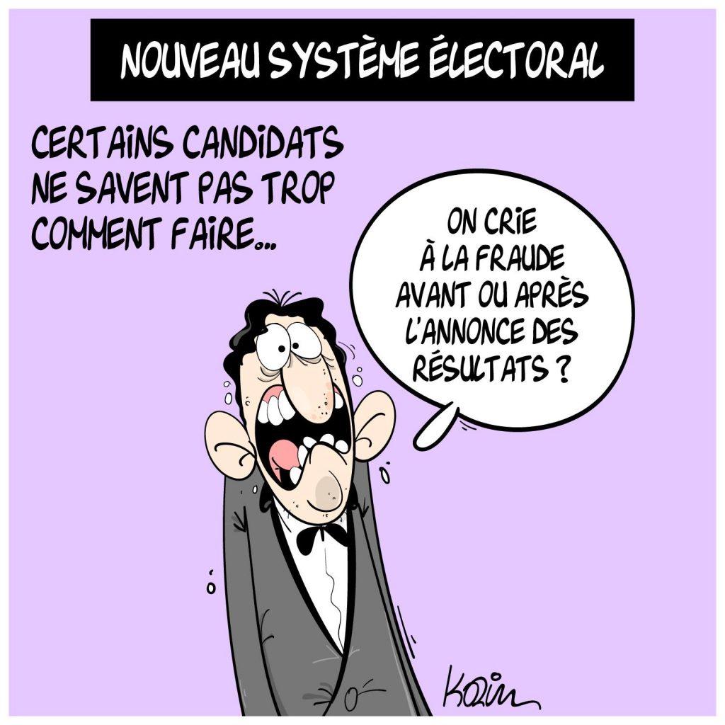 dessin presse humour Algérie système électoral image drôle élections régionales fraude
