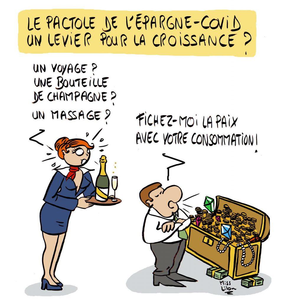dessin presse humour coronavirus épargne image drôle levier croissance consommation
