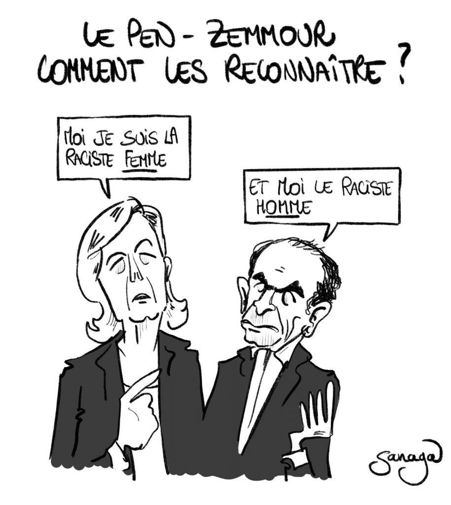 dessin presse humour Éric Zemmour image drôle Marine Le Pen racisme