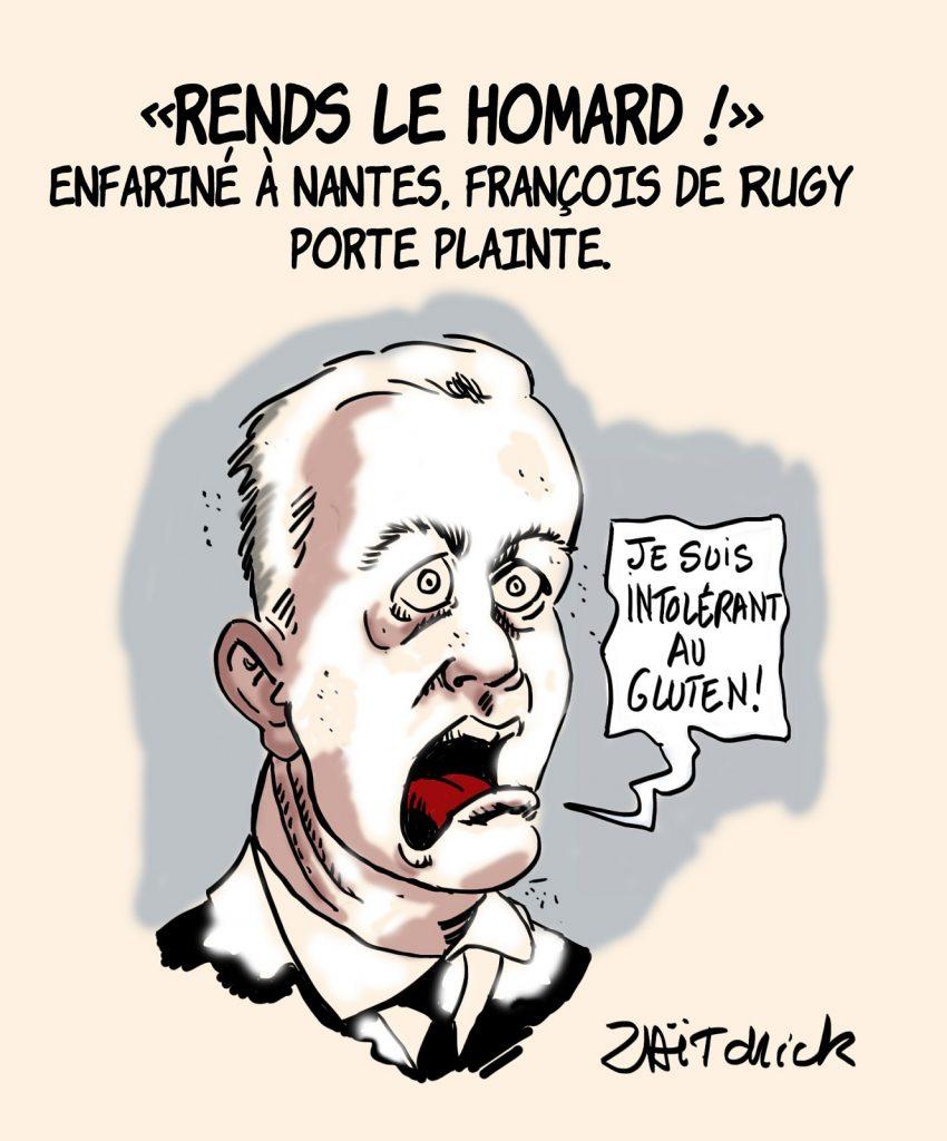 dessins humour François de Rugy enfarinage image drôle Nantes homard plainte
