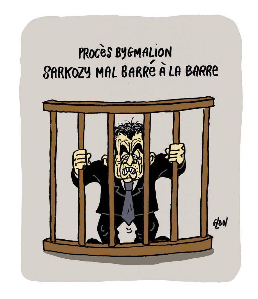 dessin presse humour Nicolas Sarkozy image drôle procès Bygmalion