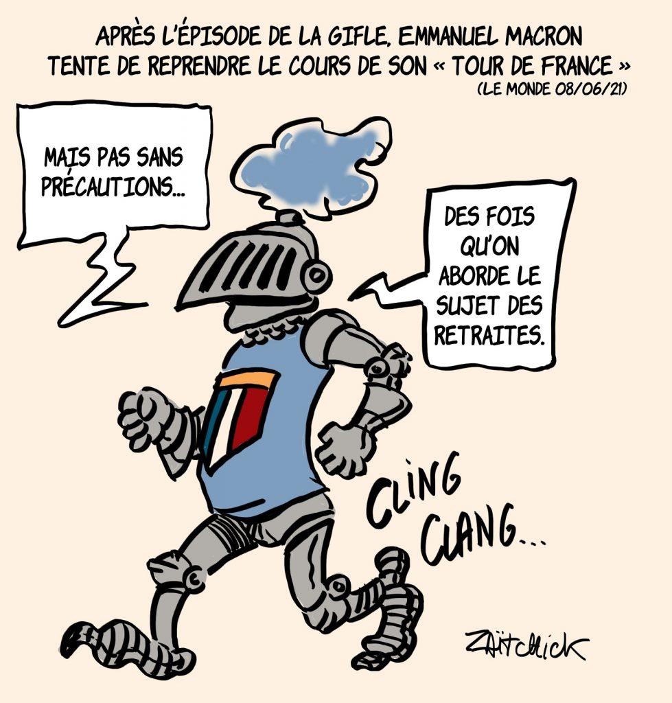 dessins humour gifle Emmanuel Macron Tain-l'Hermitage image drôle tour de France précautions