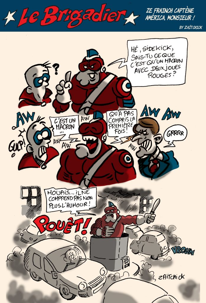 image drôle Le Brigadier dessin humour gifle Emmanuel Macron Tain-l'Hermitage